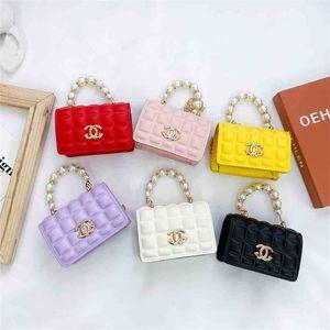 PU Handbag Girls Crossbody Bag One-Shoulder Bag Fashion Summer Foreign Style Silk Scarf Small Square Bags Baby Pearl Pocket Wallet G70F8MY