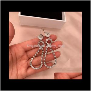 Charm Ju Jingyis Same 8Character Full Drill Claw Set Long Earrings Super Flashing Water Drop Shaped Thin Face Net Red Temperament V3Eb Z0Tfs
