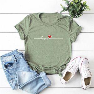 T-shirt Femme Plus Taille Femmes Love Heart Print Shirts O Cou Tees à manches courtes 100% coton Top Summer Femme T-shirts 5Imm