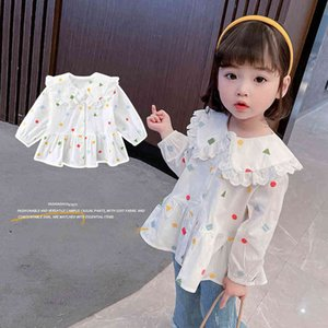 Shirt For Girl Geometric Blouse For Girl Lace Children's Shirts For Girls Spring Autumn Baby Girl Clothes 210412