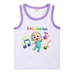 :Lovely Cocomelon Cartoon Printed Children's Vest Fashion Jj Boys Sleeveless Casual Sports Candy Colors Kids Sports Girls Clothes 8652 G76X4QS