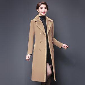Casual Dresses M-5XL Women Wool Blends Coat Winter Fashion Mother Thicken Cashmere Collar Long Jacket Warm Slim Tops Outerwear Fem