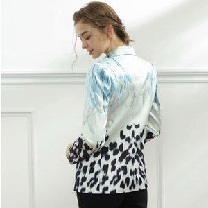 traje camisas seqiny blazer fino 2021 diseño de primavera femenino de moda negro pintura azul de alta calidad de impresión