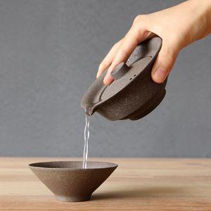 1Set Ceramic Japanese Tea Cup Set Portable Travel Teaware Kung Fu Tea Cup 1 Pot 2 Cups Home Office Vintage Drinkware