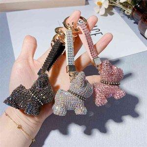 Luxury Crystal French Bulldog Keychain Lanyard Full Rhinestone Leather Strap Dog Keychains Women Bag Charms Men Car Key Ring 210409