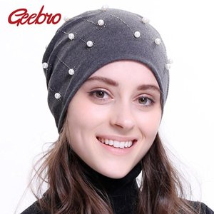 Geebro 2021 Women's Pearl Beanie Fashion Silver Rhinestone Slouchy Hat For Female Plain Skullies Balaclava Bonnet Beanie Skull Caps