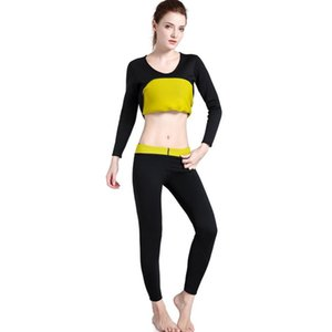 Womens Body Shapers Long Pants Sleeve Slimming Fitness Panties Fat Burning T-Shirt Suit Super Stretch Sweat Sauna Shaperwear Y200110