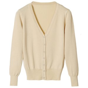 Wool Ladies V-neck Long Sleeve Sweater Cardigan Casual Large Flat Shoes Basic Jacket