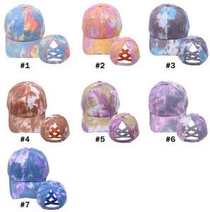 Ponytail Baseball Cap Women Washed Snapback Golf Caps Messy Bun Hats Casual Summer Running Sport Hat Fashion Tie Dye Cap DB366
