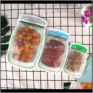 Sets Housekeeping Organization Home Garden Drop Delivery 2021 500Pcs Reusable Storage Bag Mason Jar Shape Snacks Airtight Seal Food Saver Lea
