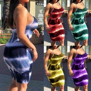 플러스 사이즈 여성 넥타이 염료 스트랩 파티 슬림 바디 콘 미니 드레스 클럽웨어 빈티지 패션 짧은 연필 여름 옷