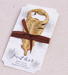 Elegant Gold Peacock Feathers Bear Bottle Opener Wedding Favors Gift Party Favor Guests gifts Souvenirs Giveaways