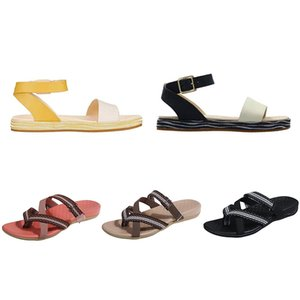 2021 summer women slippers color black yellow blue brown breathable cut-outs womens flat sandals size 36-40