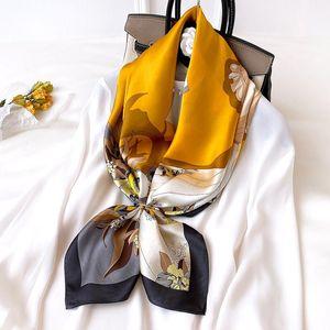 Women Natural Silk Square Scarf Fashion Print Headscarf Office Lady Elegant Shawls Female Hijabs Beautiful Gift 90x90cm Scarves