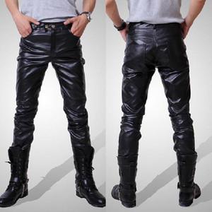 Erkek Pantolon 2021 Erkekler Joggers Erkek Pantolon Rahat Moda Sonbahar Kış Moto Biker Slim Fit Deri Uzun M-3XL