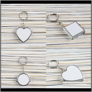 Novelty Items Décor Home Garden Drop Delivery 2021 Heat Transfer Print Key Chain Double Sided Sublimation Blanks Cute Ring Metal Cosmetic Mir