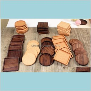 Mats & Pads Table Decoration Accessories Kitchen, Dining Bar Home Garden 100Pcs Lot 8Dot8Cm Beech Walnut Wood Coasters Wooden Cup Coff