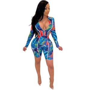 Summer Women Set Tracksuits V-Neck Print Bodysuits+Shorts Sexy Night Party Fitness Sporty Two Piece Suit Outfits