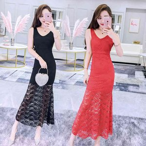 Party Dresses Sexy lace cut-out V-neck slim fishtail evening dress hip dress long skirt
