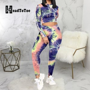 Women's Tracksuits Tie Dye Print Casual Sporty 2 Piece Set Women Full Sleeve Hooded Navel Pencil Slim Two Outfits Woman