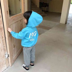 Boys girls autumn letters printed casual sport hoodies children cotton all-match long sleeve hooded sweatshirts 210708