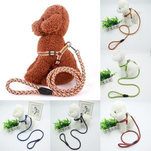 Fashion Dog Harness And Walking Leash Set Reflective Breakaway Nylon Dogs Vest Leads 5 Colors S M L For Small Medium Collars & Leashes