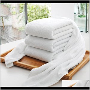 Home & Garden Drop Delivery 2021 Wholesale El Towels Guest House 100Percent Cotton White Unisex U Natural Safe Bath Towel Soft Bathroom Suppl