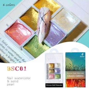 Nail Glitter 6 12pc Blooming Paints Watercolor Powder Art Pigment Dyeing Dyestuff God Shimmer Manicure Set Waterco E2w7