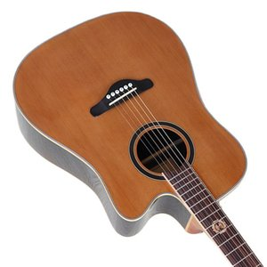 Solid red cedar 41 inch acoustic guitar 6 string cutaway design 20 frets folk guitar rosewood back and side with birds inlays