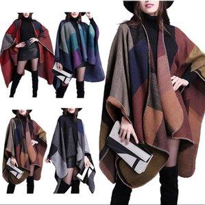 Cashmere Scarf Patchwork 130*155CM Plaid Women Cape Poncho Wrap Floral Wrap Knit Cashmere Scarves 18 Colors 50pcs OOA2906