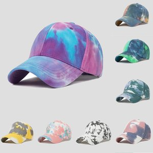 2021 Hat female street graffiti Mens tie-dye baseball cap korean style wild gradient casual sunshade caps women fashion sunglasses Era Fitted Hats wholesale