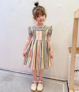 Designer Children Plaid Dresses 2021 summer  Girls stripe fly sleeve dress preppy style Kids cotton Clothing A6615