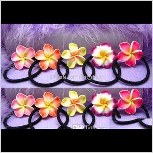 Wholesale Frangipani Bands Foam Hawaiian Plumeria Flower Headband Elastic Band Rope Girl Hair Accessories 80Pcs Vmy3S Ikh3F