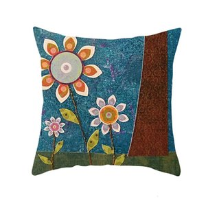 Pillow Art Painting Creative Case Children's Oil Painting Tree Cartoon Style Household Goods Sofa Cushion Waist Pillow Case 1359 T2