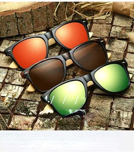 2021Fashionable Men's and Women's Simple Color Film Sunglass, Bamboo Legs, PC Style Bamboo and Wood Glass Sunglass