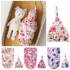 7 Styles Sleeping Bags toddler Infant INS Swaddle Boys Girls Floral Wrap blanket with hats Baby Cotton Flowers Sleep Sack Z2772
