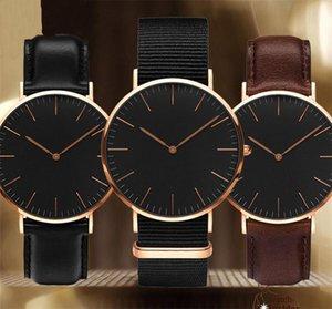Designer Mens Watch d&w Women Fashion Watches Daniel's Black Dial Leather Strap Clock 40mm 36mm montres homme
