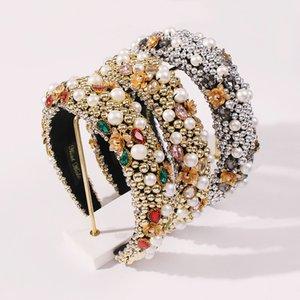 여성 풀 펄 머리띠 럭셔리 합금 헤어 쥬얼리 두꺼운 스폰지 다이아몬드 헤드 밴드 파티 기념일 유럽 아메리카 스타일
