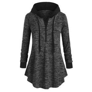 Women's Blouses & Shirts Women Casual Plus Size Space Dyeing Long Sleeve Hooded Tunic Tops Shirt Blouse Fashion Hoodie For Woman Winter 2021