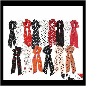 Other Event Party Supplies Wave Point Print Scrunchie Scarf Elastic Hairband Bow Rubber Ropes Girls Ties Hair Accessories T2C5124 Jvld 8X5Wn