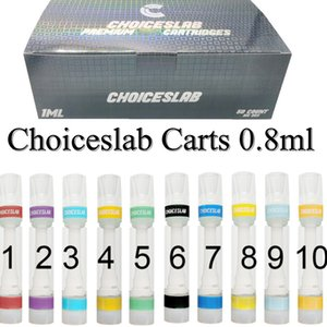 0.8ML Choiceslab Vape Cartridge Full Ceramic 510 Thread Vapes Pen Empty Atomizer E Cigarettes Carts Glass Thick Oil Vaporizer Pens Snap On Tips Choices Vapes