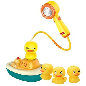 Children bath toys, cute yellow duck, will paddle, spray water, sprinkled.