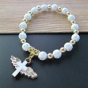 Religious Bead Angle Wings Cross Bracelets Rosary Centerpiece Sacred Heart Of Mary Mercy Jesus Saint Icons Jewelry 4523 Q2