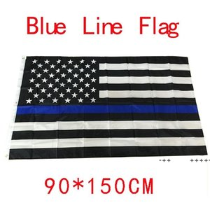 90*150cm BlueLine USA Police Flags 3x5 Foot Thin Blue Line USA Flag Black White And Blue American Flag With Brass Grommets FWB10611