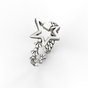 Cluster Rings Pentagram Chain Ring South Korea 925 Silver Geometry INS Thai Frosty Female Personality Trend Fashion