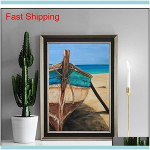 Paintings Arts, Crafts Gifts Home & Gardenfull Scenery Embroidery Kit 5D Diy Diamond Painting Lake Sunshine Boat Landscape Mosaic Qyxe Drop