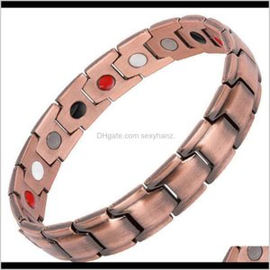 Charm Bracelets Jewelry Drop Delivery 2021 Yunjin Simple Magnetic Therapy Four In One Personalized Mens Red Copper Bracelet Ojnsi