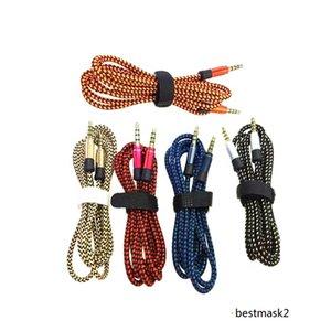 Плетеный плетение мужской стерео Aux Electendendion 3PT 1,5 м 3,5 мм аудио кабели для мобильных телефонов MP3 динамик планшета