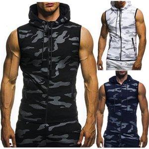 Новый плюс размер M-3XL камуфляжные толстовки мужские без рукавов мода с капюшоном летняя одежда мужская мода повседневная толстовка