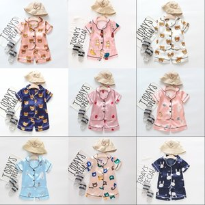 2021 New Summer Children's Pajamas Sets Boys Girls Bear Home Wear Kids Two-Piece Set Short-Sleeved Suit Child Home Clothes Retail 665 X2